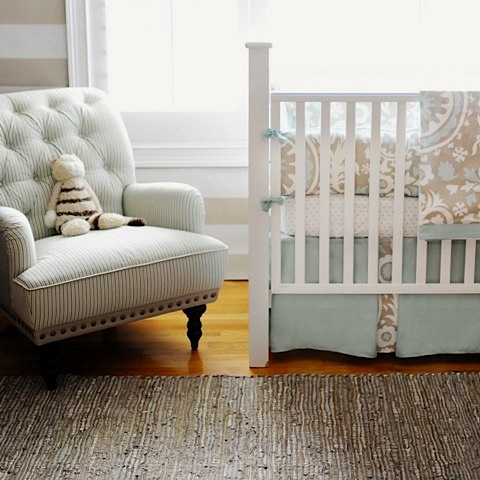 vintage baby nursery ideas with crib bedding with pleated skirt