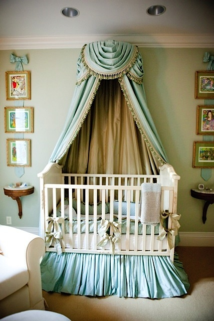 baby nursery ideas for crib bedding with ruffled skirt and bows