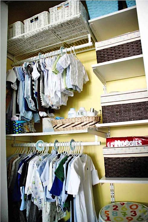 organized nursery closet for baby room ideas for storage