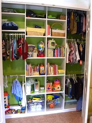 The closet baby nursery decor ideas kidspace interiors for Kids room closet ideas