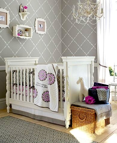 stenciled nursery wall for baby room ideas