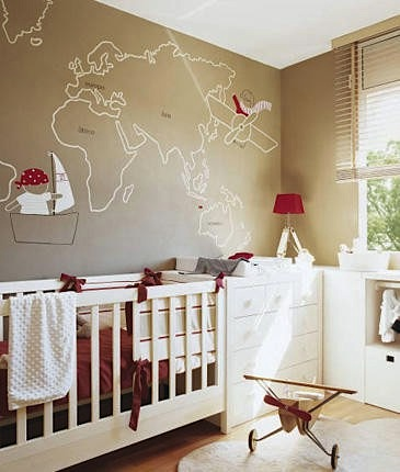 map painted on nursery wall for baby room ideas