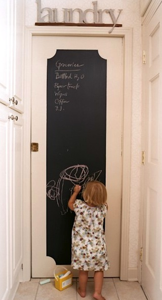 paint door with chalk board paint for kids activity center