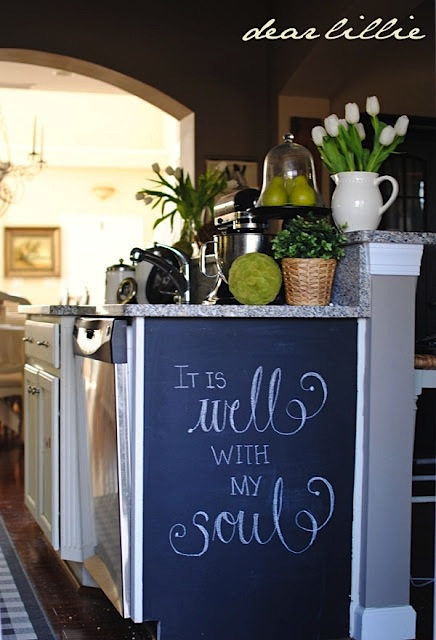 kid friendly kitchen with chalk board paint on cabinet