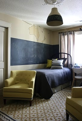 boys room ideas with chalk board paint on wall