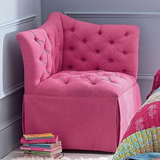 pink tufted corner chair in teenager room ideas for small rooms
