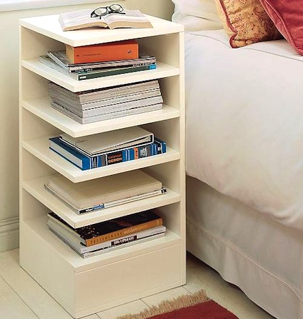 teenagers room with corner bookcase for nightstand