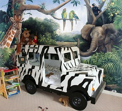 boy room ideas with toddler bed like a zebra striped jeep