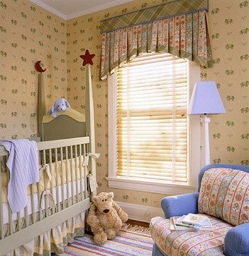 box cornice with pleated treatment for baby nursery window idea
