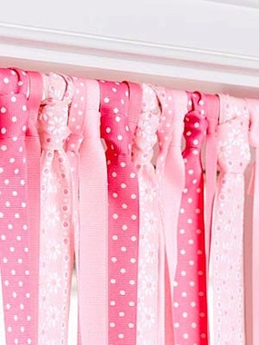 girls room ideas for window valance using ribbon