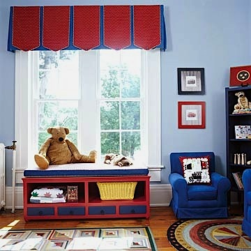 boys room window ideas with pleated valance