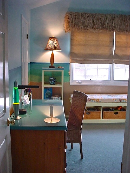 grass skirt valance on boys beach theme room