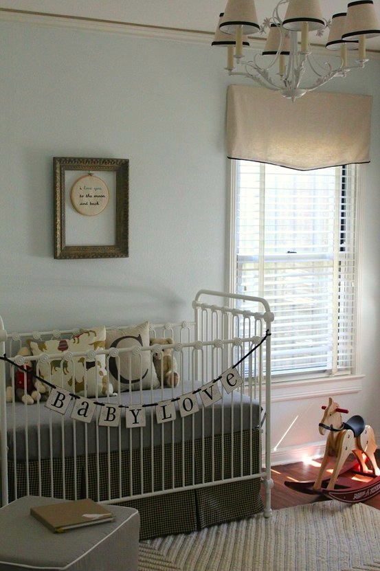 Elegant Control Light In Baby Nursery With Mini Blind Topped With Fabric Valance Design Inspirations
