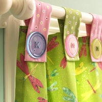 kids room window curtains with button tab