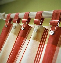 kids room window curtain with buckle tab connection