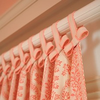 girls room window idea with ribbon tied curtain top