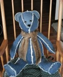 recycle blue jeans into kids teddy bear