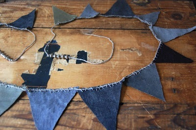 recycle blue jeans into kids room bunting