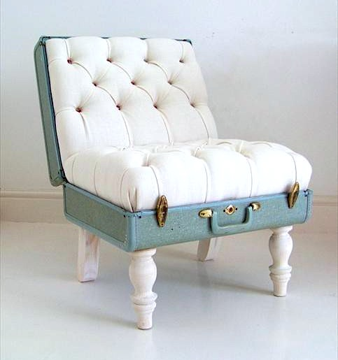 teen room chair from reclaimed vintage suitcase with tufted seat