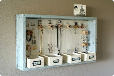 teenager room idea for vintage jewelry using vintage wood box and knobs