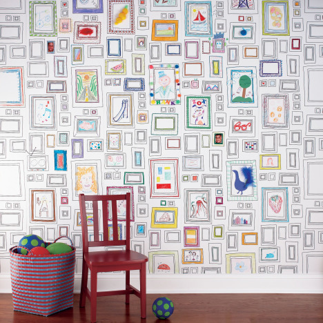 frames wallpaper by graham & brown for family art wall