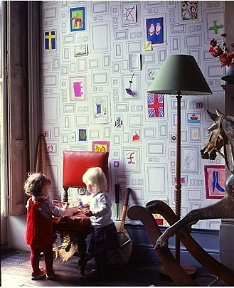 frames wallpaper by graham & brown for family art wall with kids artwork