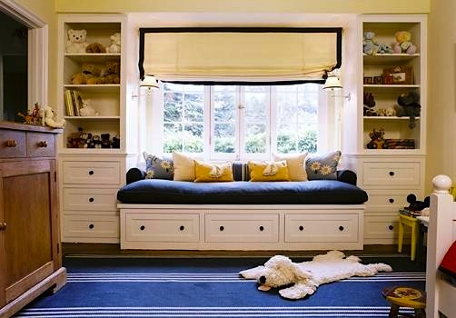 nautical theme boys room with roman shade window treatment