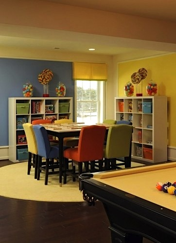 family room storage idea with game table