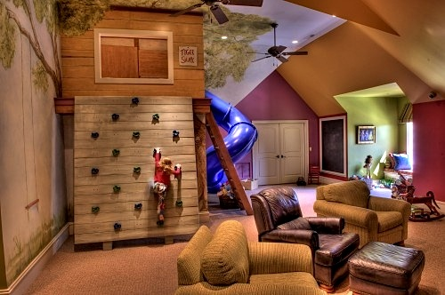 family room design ideas with climbin wall for kids