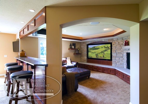family room design for teens and tweens with tv room and snack counter