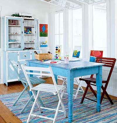 crafts activity table for teens and tweens in family room