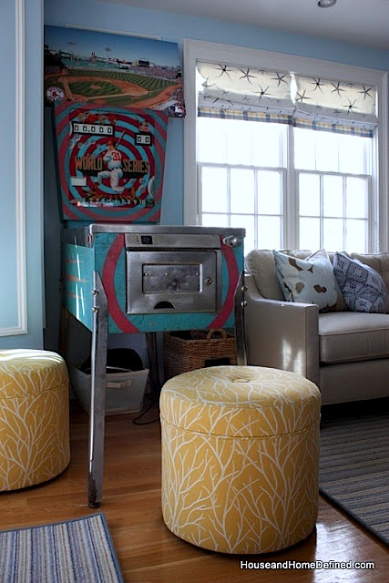family room ideas for tweens and teens with pinball machine and stools