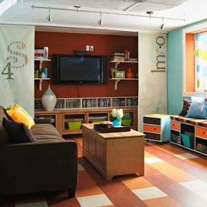 media center design for kids in family room