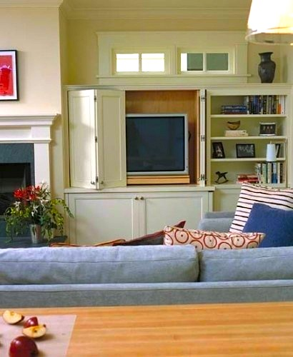 family room ideas for hiding tv