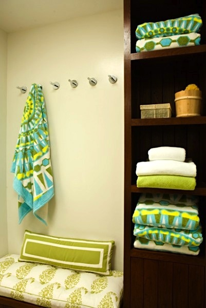 towel hooks with bench storage and cabinet storage for kids bath