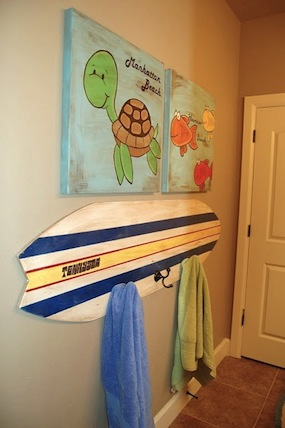 kids bathroom storage ideas with surfboard towel hanger