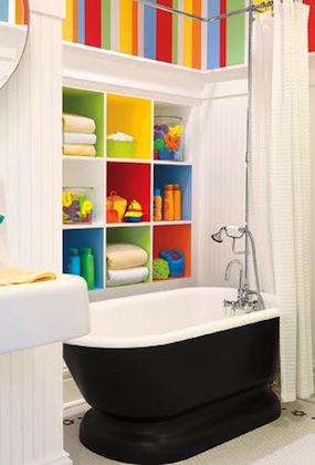 open shelf storage in wall for kids bathroom storage ideas