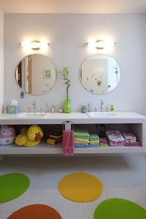 under counter shelf storage for kids bathroom storage idea