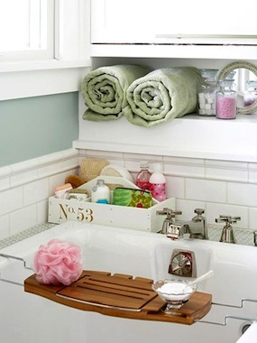 towel storage cabinet in bath enclosure