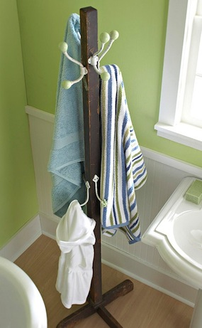 towel drying rack for kids bathroom storage idea