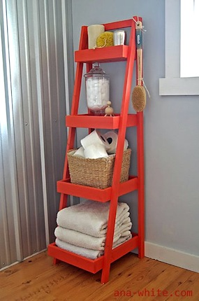 kids bathroom storage for towels on freestanding shelf unit