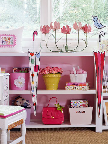 Girls Room Storage Idea With Painted Bookcase With Storage Totes For Girls  Purses