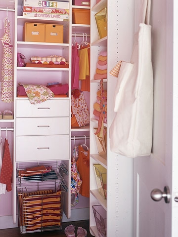 girls room storage idea with closet organizer with baskets drawers and closet rods