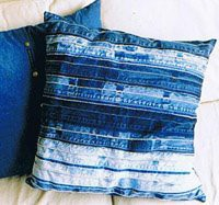 teen room idea with pillows from recycled blue jean seams