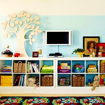 Top family room storage ideas for Storage solutions for toys small rooms