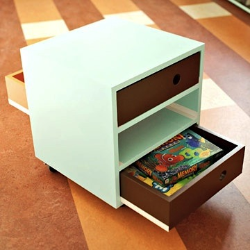 kids game storage in rolling storage cart for family room