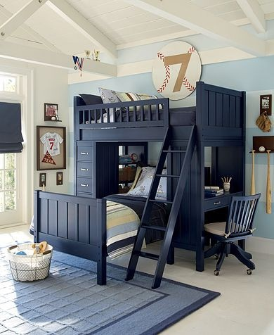 baseball theme boys room with bunk beds