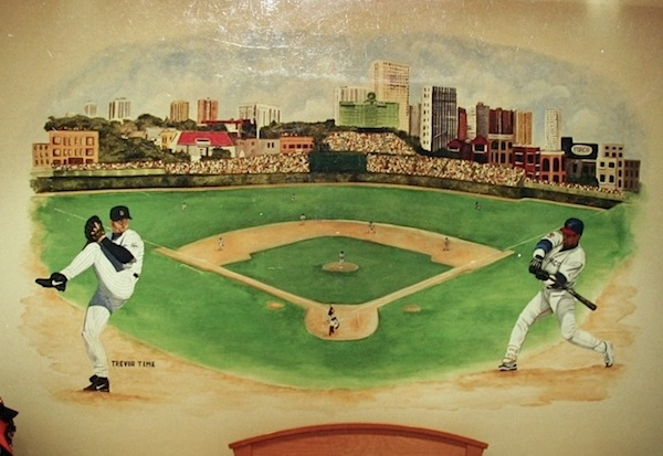 vintage boys baseball theme room with baseball field mural