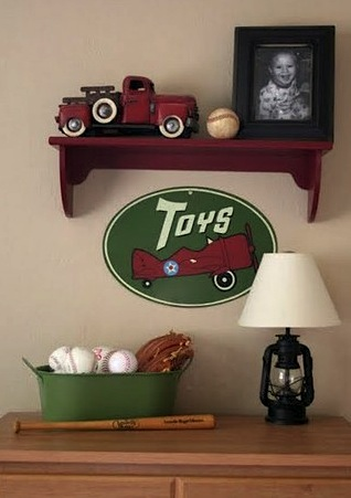 boys baseball theme bedroom with baseball in pail