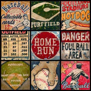 boys baseball theme room vintage artwork